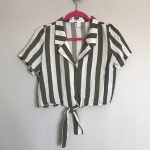 Streetwear Society Green Stripe Tied Crop Shirt 🌿